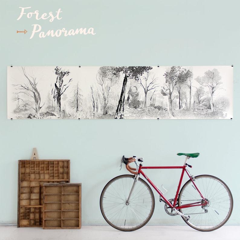 Panorama of Forest Large Art Giclée Print beautiful pencil image 0