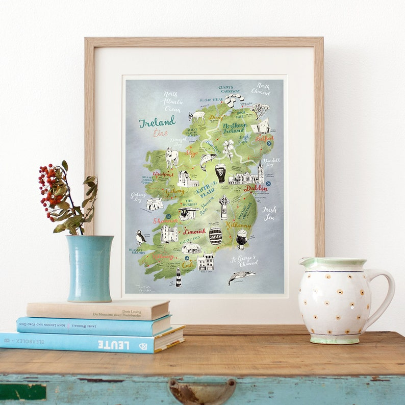 Ireland Map Art Print illustrated map Ireland Ireland image 0