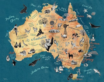Australia Map, Australian Art Print, illustrated map, Aussie travel illustration poster, farewell gift, giclee print, living room art,new