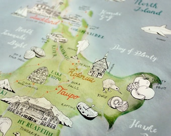New Zealand Map, illustrated Map Art, Aotearoa Poster, New Zealand large art, NZ Giclee Print, living room art travel illustration, New Shop