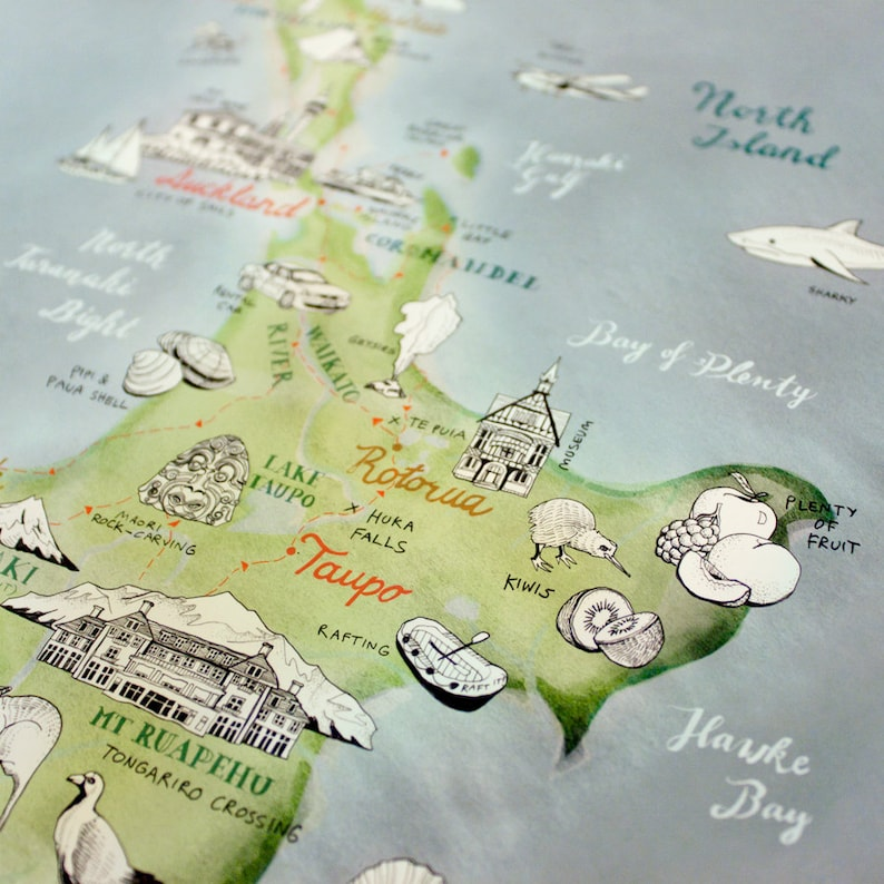 Taupo New Zealand Map.New Zealand Map Illustrated Map Art Aotearoa New Zealand Large Art Nz Giclee Print New Zealand Poster Travel Illustration New Shop