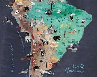 South America Map, Art Print, illustrated map of Latin America, travel illustration poster, farewell gift, giclee print, living room art,new