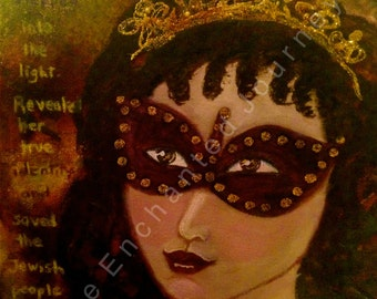 Mixed Media, Judaic Art, Queen Esther, Purim, mask, S&H INCLUDED
