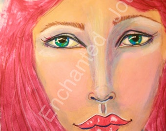 Redhead with eye watching her, Mixed Media, S&H INCLUDED