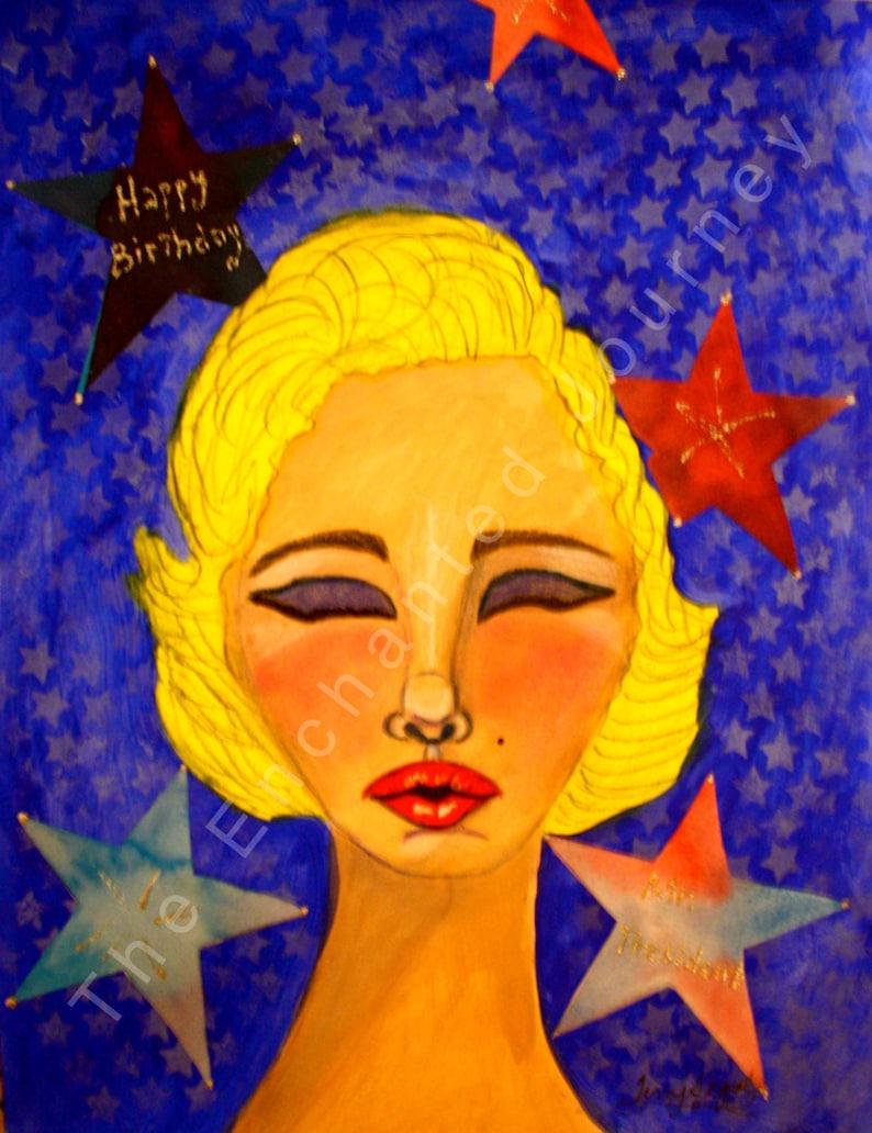 Happy Birthday Mr. President Whimsical Marilyn Monroe S&H image 0