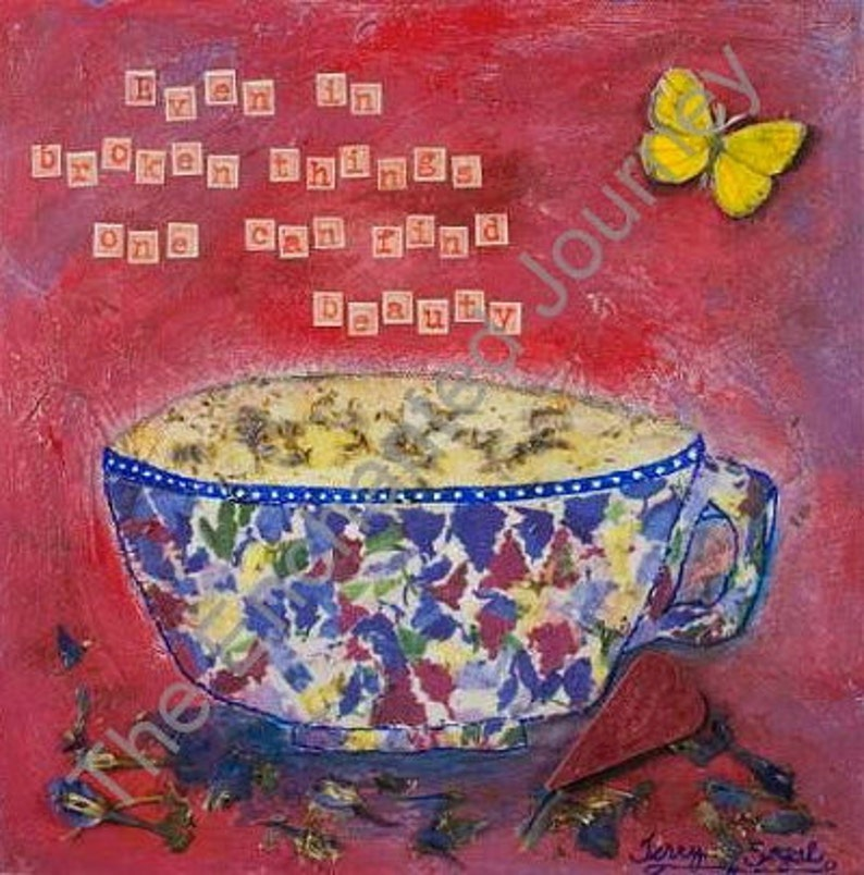 Mosaic Mug Mixed Media with herbs heart butterfly and quote image 0
