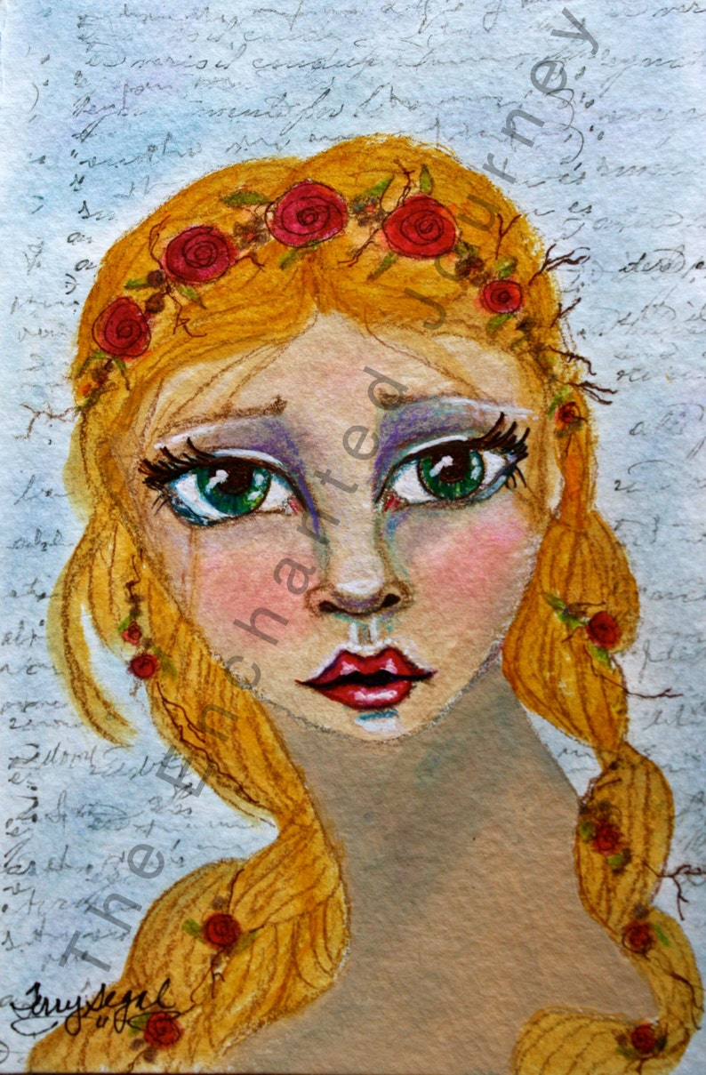 Princess with big eyes and roses in her golden braids S&H image 0