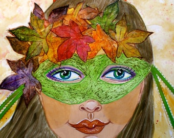 Autumn Mask, masquerade, wreath of leaves in hair, S&H INCLUDED