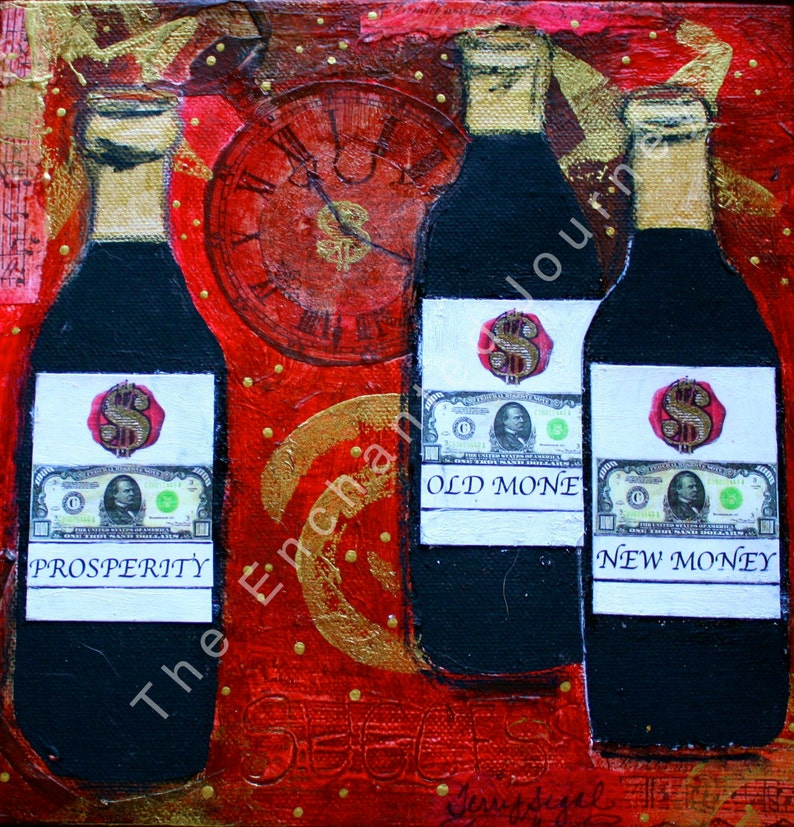 Prosperity: Drink it in Mixed Media wine bottles clock and image 0