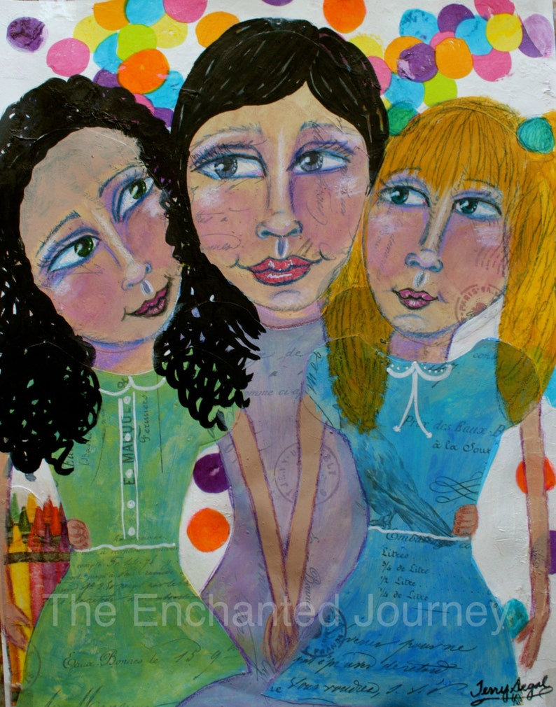 Mother and Daughters three girls mixed media image 0