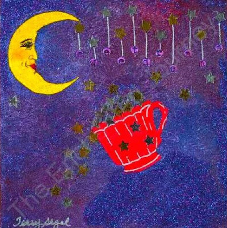 Cup of Stars Sweet Dreams Crescent Moon face with red cup S&H image 0