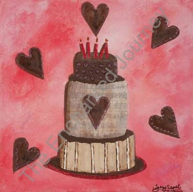Candle Cake Mixed Media Pink with chocolate hearts S&H image 0