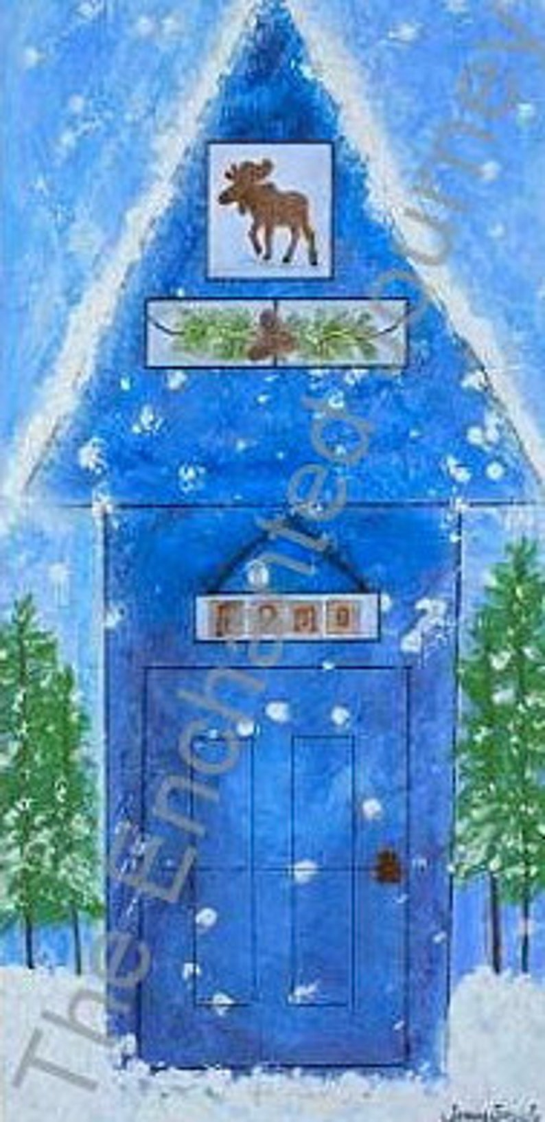 Winter House whimsical cabin in the snow with trees and moose image 0