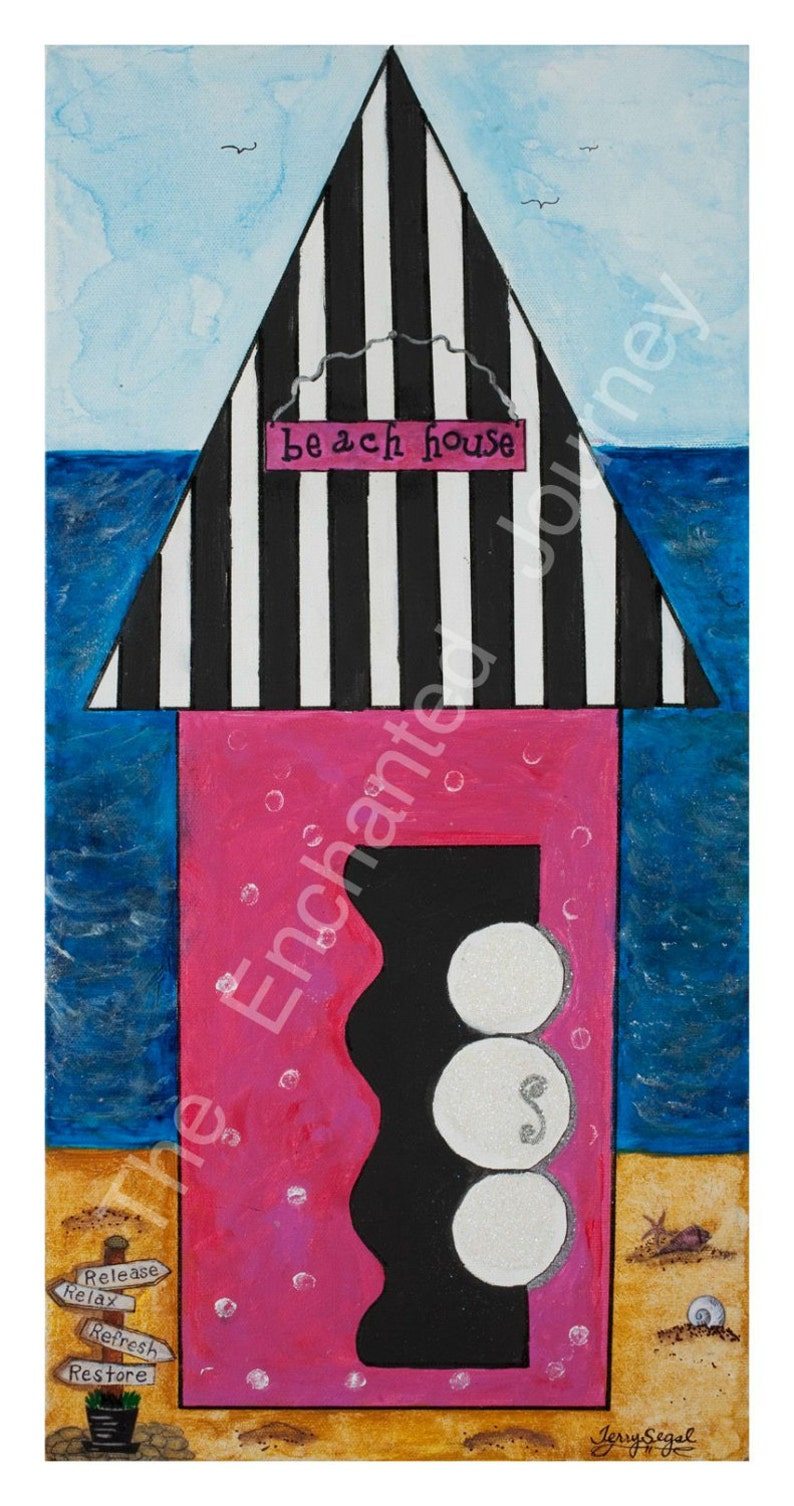 Summer Beach House Pink & Black Stripes SH INCLUDED image 0
