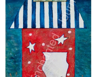 Summer Beach House Patriotic, S&H INCLUDED