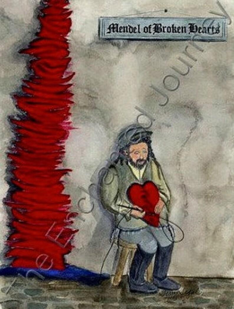 Judaica mixed media Mendel of Broken Hearts tailor mending image 0