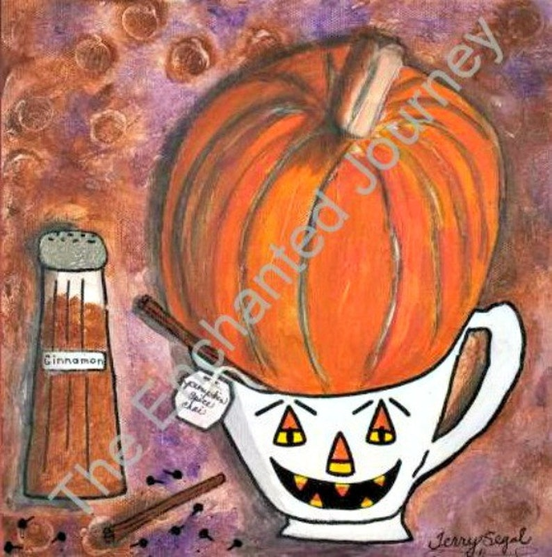 Whimsical Fall Pumpkin Spice Chai teacup S&H INCLUDED image 0