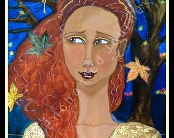 Autumn Brilliance, Fall leaves, redhead with tree and crow holding skeleton key, S&H INCLUDED