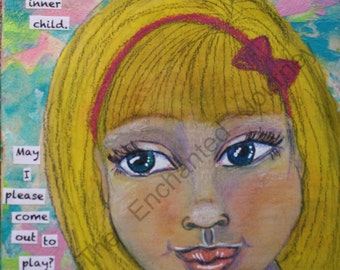 Blonde Child, sweet, mixed media, inner child, S&H INCLUDED