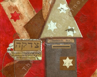 Mixed Media, Judaic Art, Tzedaka House, S&H INCLUDED