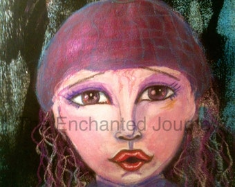 Little girl in the woods, wool cap, frightened, big eyes