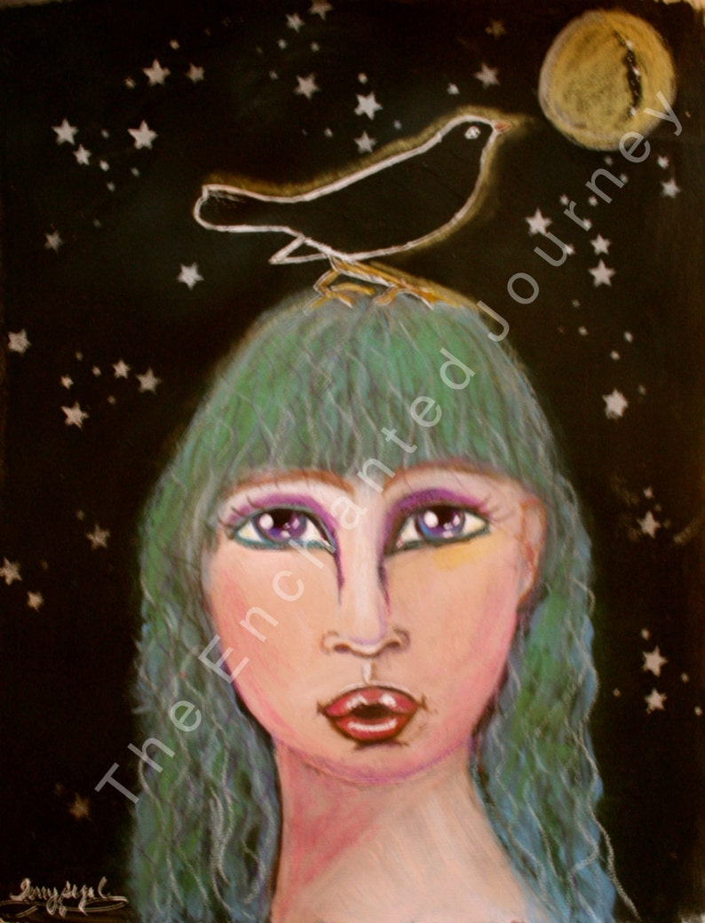 Haunting Woman with Green Hair in Moonlight with stars and image 0