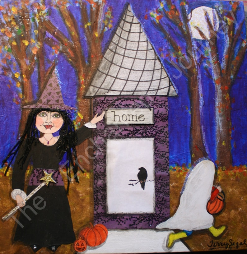 Trick or Treat Mixed Media Halloween Witch & Ghost SH image 0