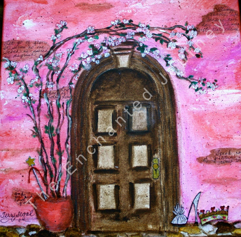 Castle Door Mixed Media Princess Crown Wand Glass slipper image 0