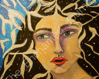 Snow Queen Mixed Media snowflakes and leaves, S&H INCLUDED