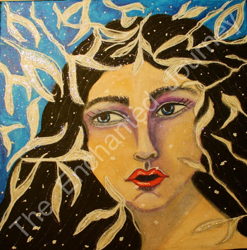 Snow Queen Mixed Media snowflakes and leaves S&H INCLUDED image 0