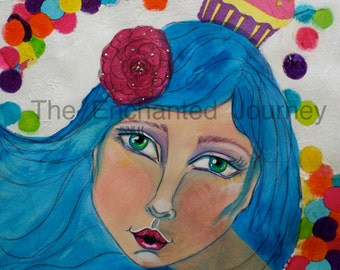 Cupcake Head, blue hair, colorful dots, S&H INCLUDED