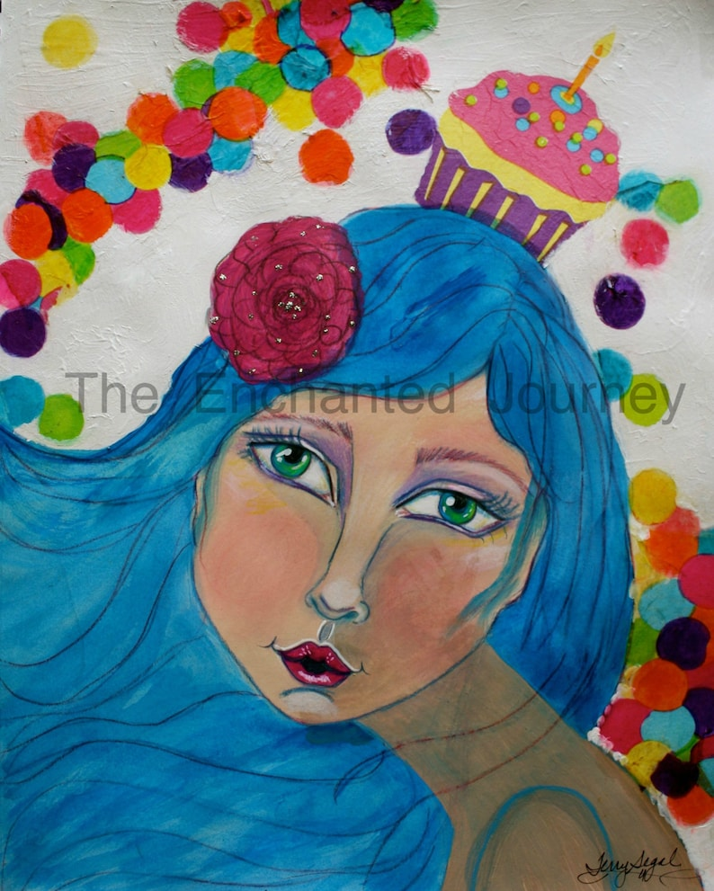 Cupcake Head blue hair colorful dots S&H INCLUDED image 0