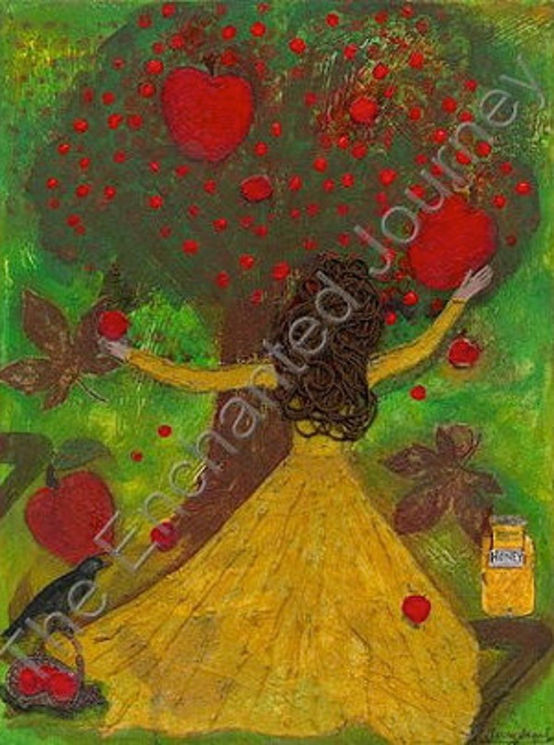 Apples Dipped in Honey Mixed Media Jewish New Year Woman image 0