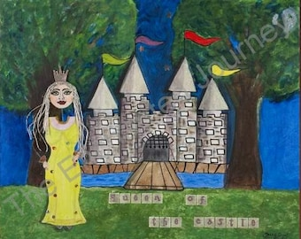 Queen of the Castle Mixed Media with mote, trees, flags, drawbridge, S&H INCLUDED