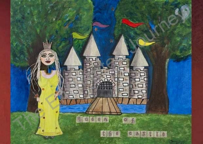 Queen of the Castle Mixed Media with mote trees flags image 0