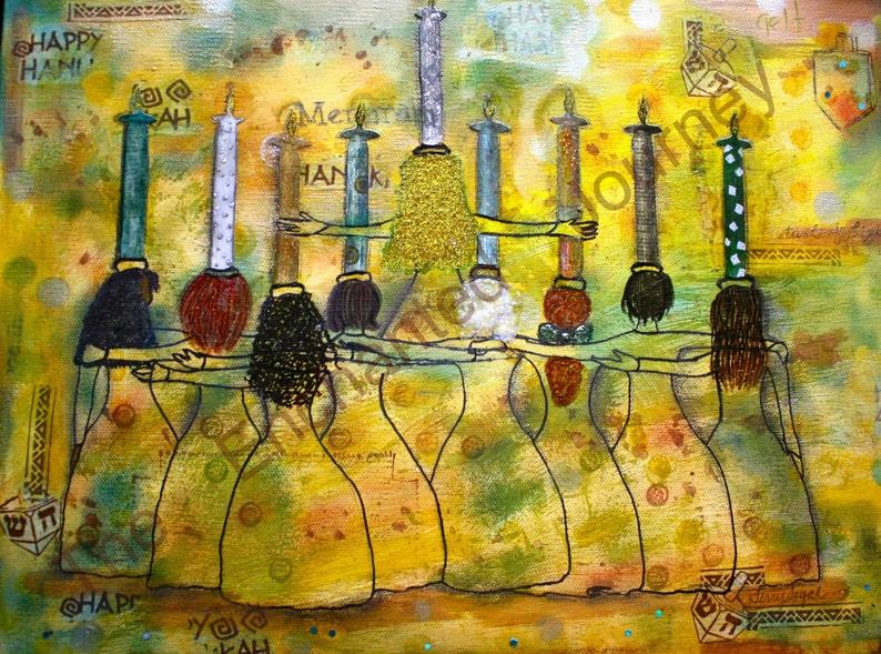 Menorah Women mixed media holding Hannukah candles Judaica image 0