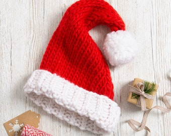 Adult Santa Hat Knitting Kit. Christmas Knitting Kit. Easy Knitting Kit. Pattern by Wool Couture