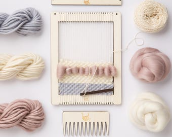 5b8d62681a Weaving Loom Kit. Small rectangular lap loom. Learn to frame weave
