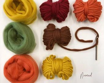 Weaving Supply Pack - Nomad. Yarn Pack. Felting. Wet Felting. Roving Carded Wool. Raw wool. Pompoms Tassels. Spinning Fiber Yarn bag