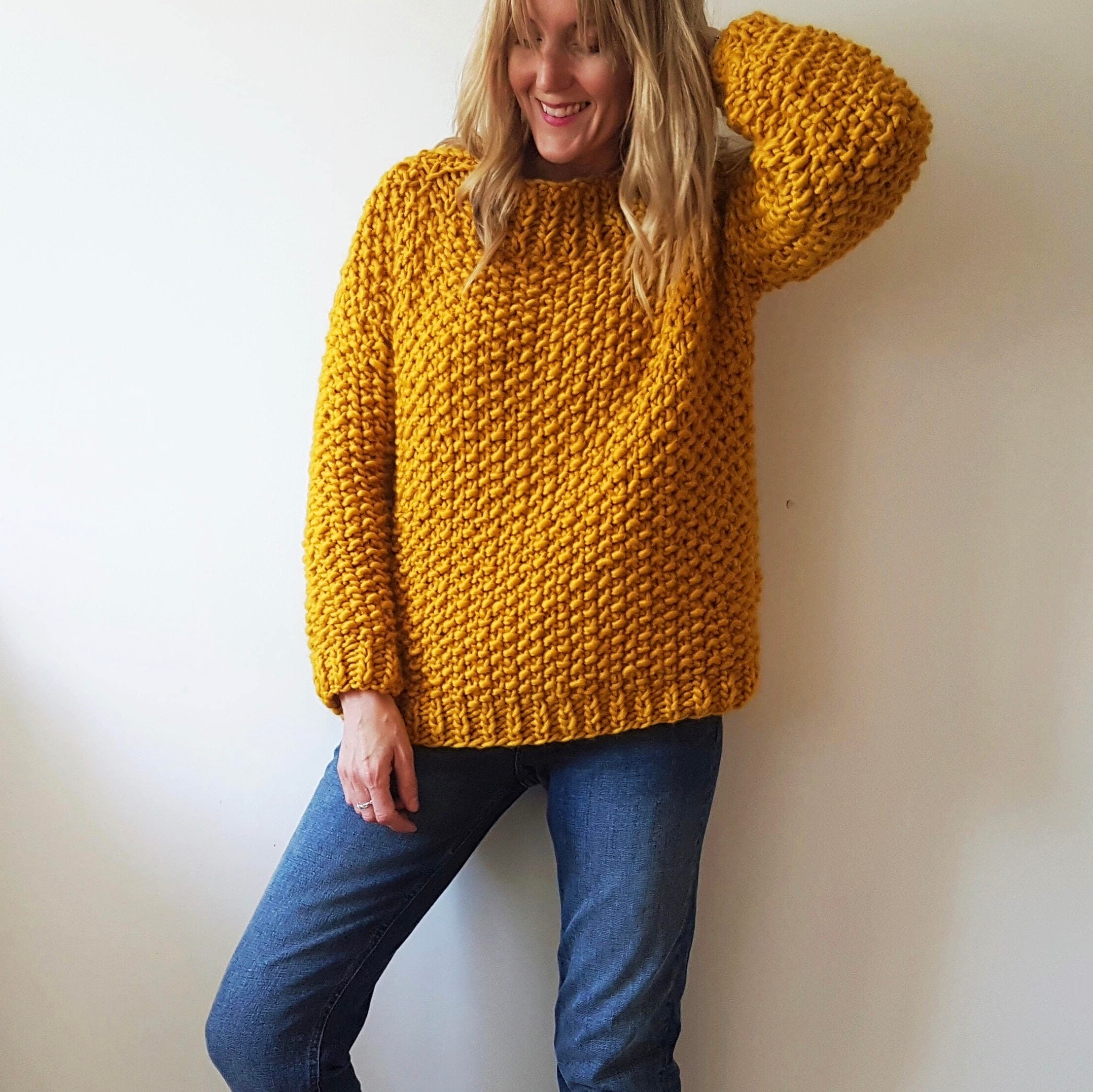 Jumper knitting pattern. Moss Stitch Sweater PDF pattern ...