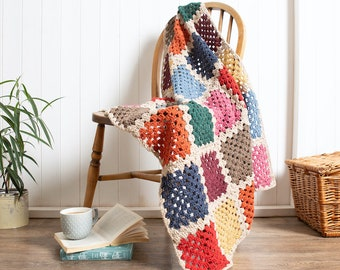 Blanket Crochet Kit for Beginners. Granny Square Crochet Throw. Catalonia Granny Squares Blanket Crochet Kit by Wool Couture.