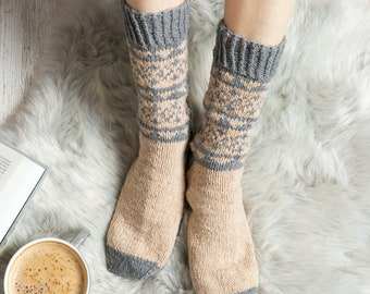 Fair Isle Socks Knitting Kit. Sock Knit Kit. Christmas Intermediate Knitting Kit.  Bed Socks Knit Kit.  Presented in a tote by Wool Couture.