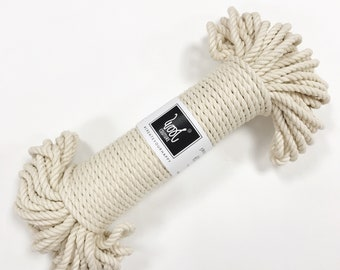 3ply Cotton Cord, Macrame Rope, Macrame Cord, Nautical Rope, Twisted Cotton Cord, 5mm Cotton String, DIY Plant Hanger, Macrame kit