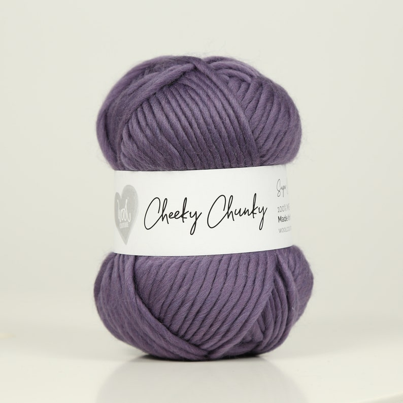 Cheeky Chunky Yarn by Wool Couture Heather Super Chunky Yarn 100g Ball Chunky Yarn in Heather Purple Pure Merino Wool.
