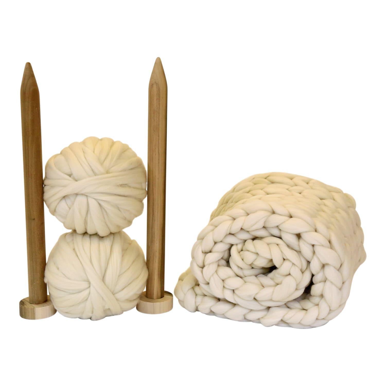 Decke stricken KIT. Riesen afghanischen. 40mm-Stricknadeln.