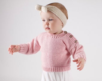 Emma Baby Jumper Knitting Kit. Easy Knitting Kit. Baby Jumper Pattern by Wool Couture
