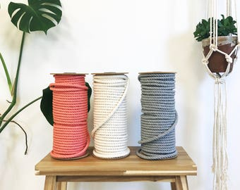 Macrame 10mm Rope. Cotton Cord 3/8 inch Braid. 50 metres / 164' ft Macramé Rope. Perfect to DIY Macrame Plant Hanger, Wall Hanging, Curtain