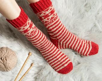 Striped Fair Isle Socks Knitting Kit. Socks Knitting Kit. Intermediate Knitting Kit. Pattern by Wool Couture