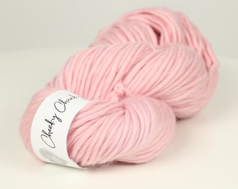 Baby Pink Super Chunky Yarn. Cheeky Chunky Yarn by Wool Couture. 200g Skein Chunky Yarn in Baby Pink. Pure Merino Wool.