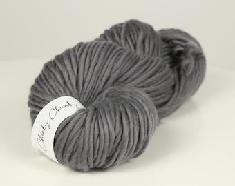 Granite Grey Super Chunky Yarn. Cheeky Chunky Yarn by Wool Couture. 200g Skein Chunky Yarn in Granite Grey Silver. Pure Merino Wool.